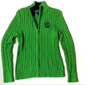 Ralph Lauren Med Green Cable Knit ZIP Logo Sweater